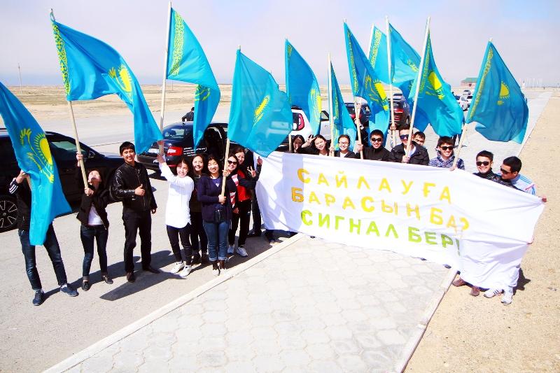 В Актау прошел молодежный автопробег «Твой голос важен!»