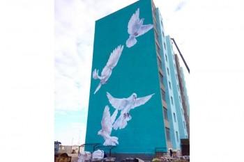 Гигантское граффити появилось на многоэтажке в Актау