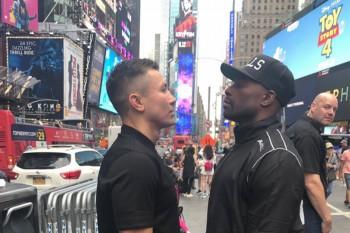Головкин и Роллс провели дуэль взглядов на улицах Нью-Йорка