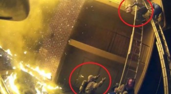 Пожарный поймал девочку, сброшенную с 3 этажа