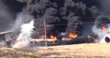 Как горели сошедшие с рельс вагоны с бензином в Актюбинской области