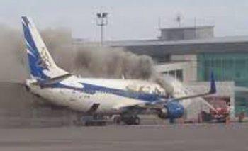 В Актау загорелся самолет авиакомпании «Скат» (ВИДЕО)